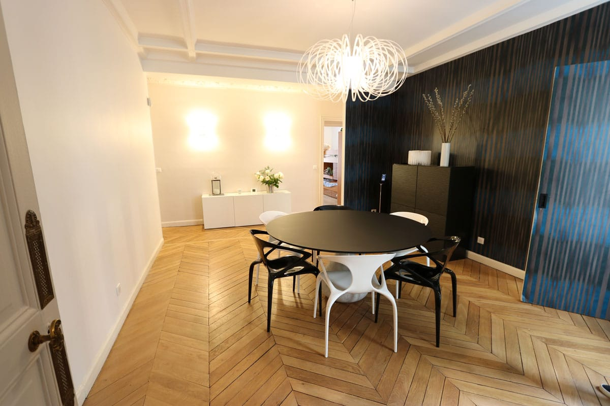 r novation d 39 un appartement haussmannien paris 75017. Black Bedroom Furniture Sets. Home Design Ideas